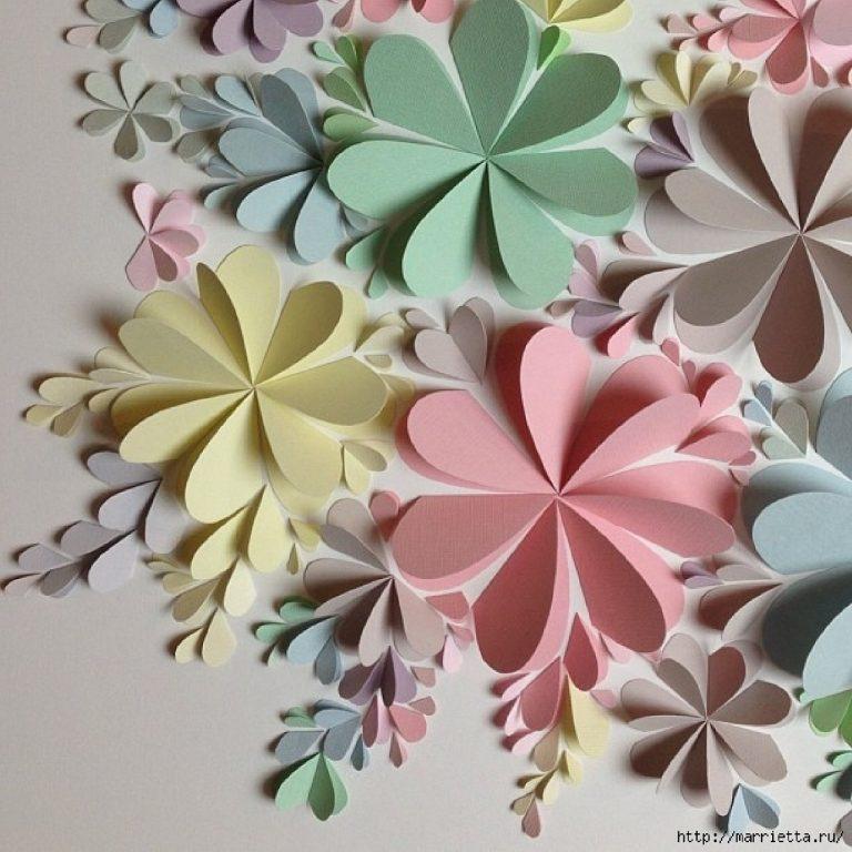 Бумажные цветы на стену своими руками мастер класс