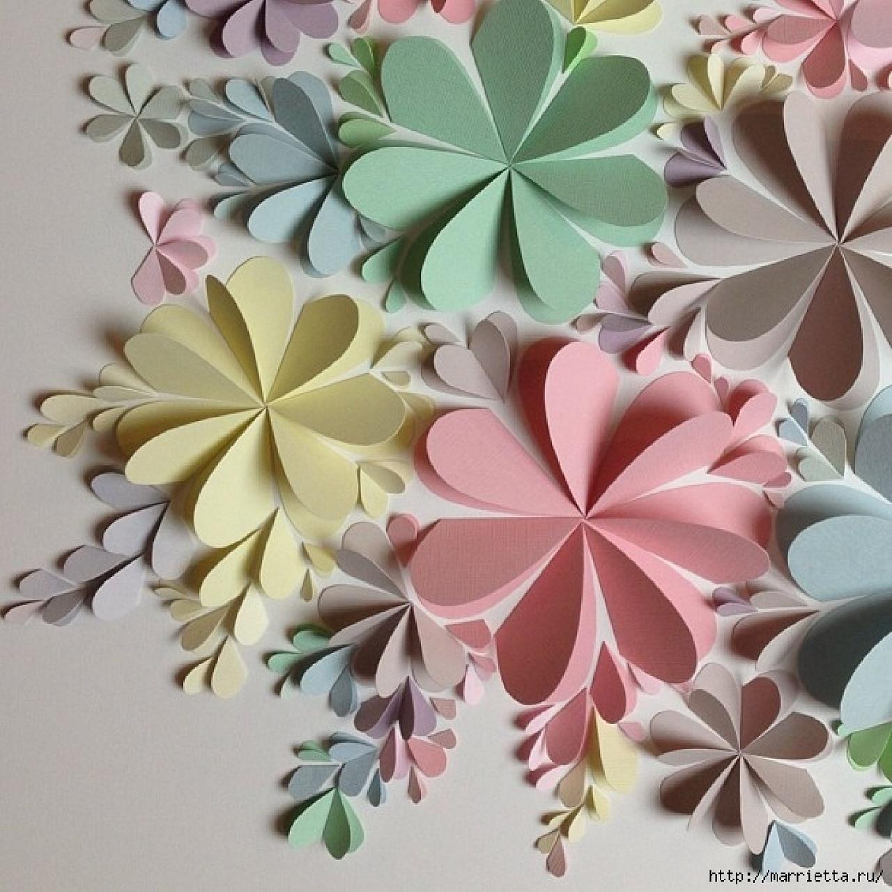 Цветы объемные из бумаги своими руками для открытки