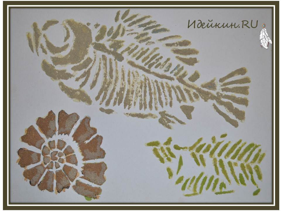 объёмное панно из манки «Морские ископаемые»