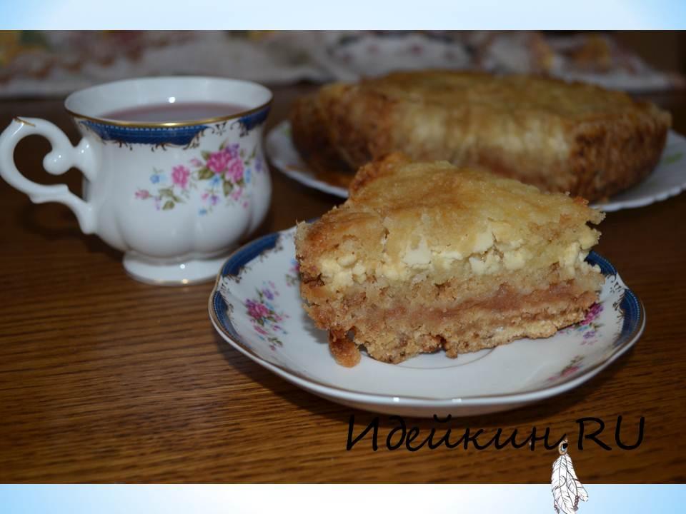 Насыпной пирог яблоки и творог