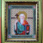 Икона апостола Андрея Первозванного, вышивка бисером