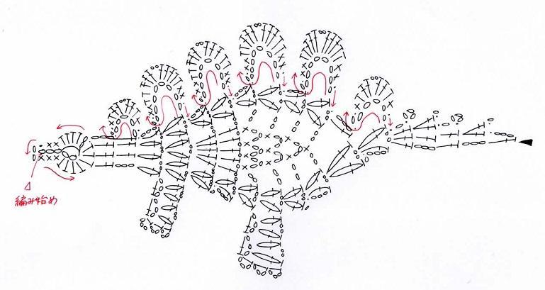 аппликация динозавр крючком