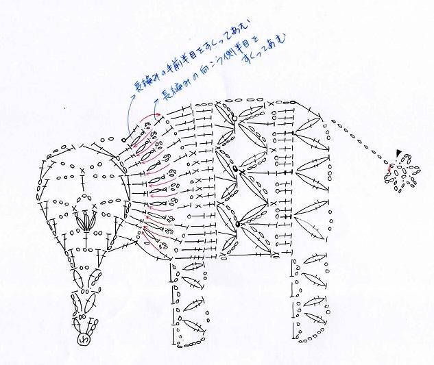 аппликация слон крючком
