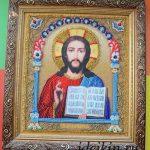 Икона Господь Вседержитель, вышивка бисером