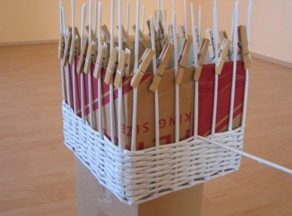 Мастер класс корзины из газетных трубочек для начинающих