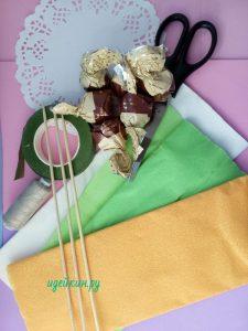 мини букеты из конфет мастер класс
