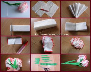 гвоздика из бумаги