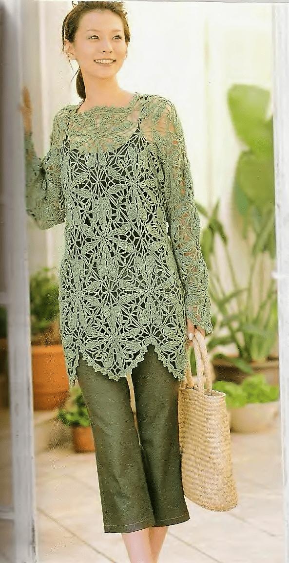 Летний пуловер из хлопка крючком