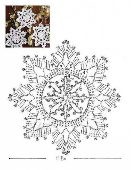 Вязанные снежинки крючком - схемы, фото и хитрости 90