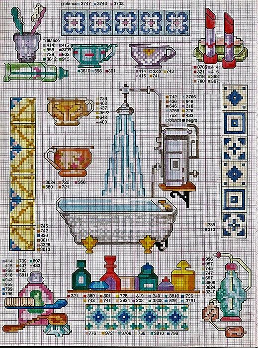 Схема вышивки крестом на ванную
