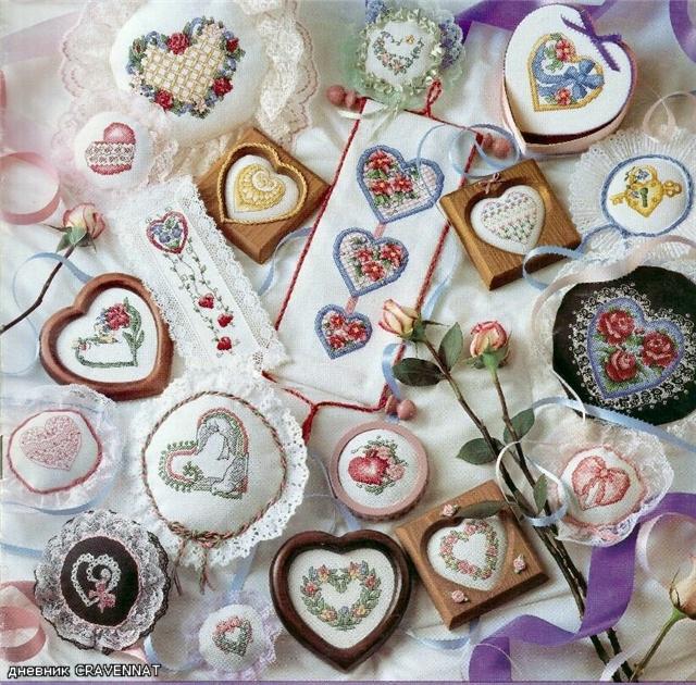 Сердечки красивые схемы вышивки
