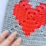 Квадратный мотив крючком «Сердце в квадрате»
