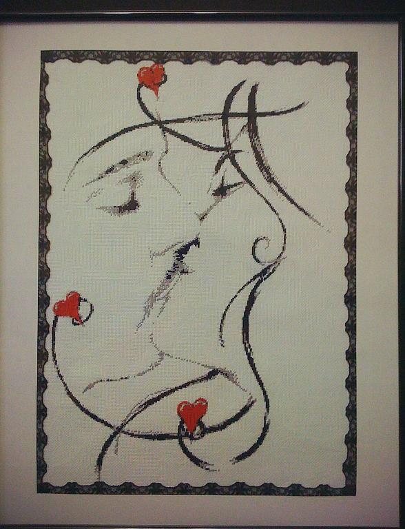 """Монохромная схема вышивка крестиком """"Поцелуй"""""""