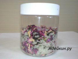 Морская соль для ванн с лепестками роз