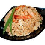 Тэндон — рис с креветками, перцем и баклажанами