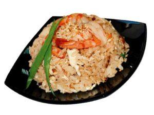 Тэндон - рис с креветками, перцем и баклажанами